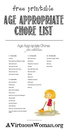 Age Appropriate Chores List