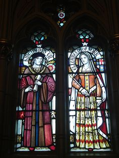 Stained glass images of Henry VII & Elizabeth of York at Cardiff Castle, Cardiff, Wales.