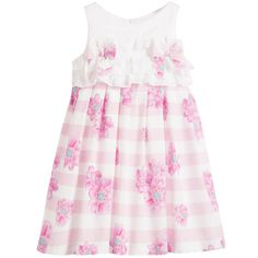 Pink Floral Cotton Dress with Bows & Ruffles, Balloon Chic, Girl
