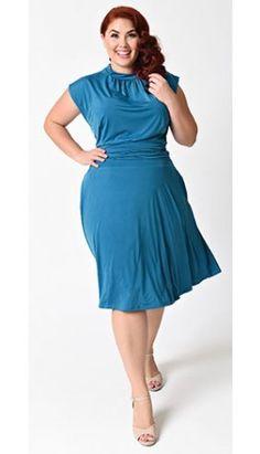b65352eb027 Folter Plus Size Teal Cap Sleeve Bridget Bombshell Swing Dress Plus Size  Vintage Dresses