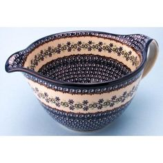 Pottery Large Batter / Mixing Bowl 6 H x 9 1/4 W (I like the handle)