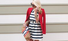 Love this dress with this red blazer!!!