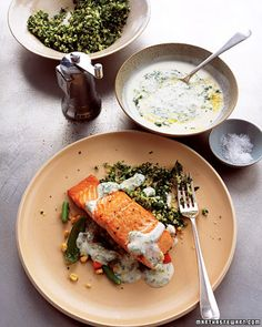 Give yourself a treat with one of the best anti-aging foods! Pan seared salmon with- lemon dill yogurt sauce. Pan-Seared Salmon with Lemon-Dill Yogurt Sauce Lemon Dill Sauce, Lemon Yogurt, Vanilla Yogurt, Pan Seared Salmon, Roasted Salmon, Grilled Salmon, Salmon Recipes, Seafood Recipes, Gourmet