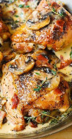 Chicken Thighs with Creamy Bacon Mushroom Thyme Sauce #chicken #chickenthighs #creamychicken #baconchicken #mushrooms