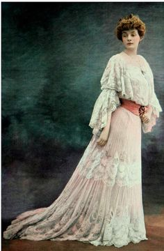 France. Gabrielle Rejane, French stage actress, Sarah Bernhardt's rival, in a dinner dress by Jacques Doucet, 1902.