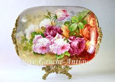 """21"""" huge Limoges hand painted tray/ platter with roses, artist signed, 1890-1932"""