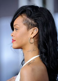 like this look...its not entire half of her head, just a small section.