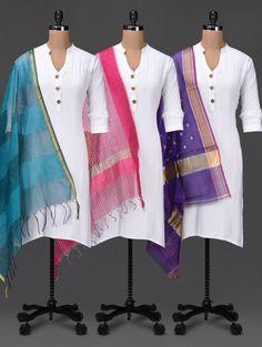Set Of 3 Silk Dupattas - Buy Plume Dupattas For Women Online in India - LimeRoad.com | 1110466
