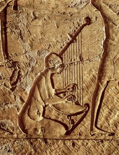 """The Harpist"", relief inside Djehuty's tomb. Theban necropolis near Luxor, Egypt. Photo by Carlos Spottorno"