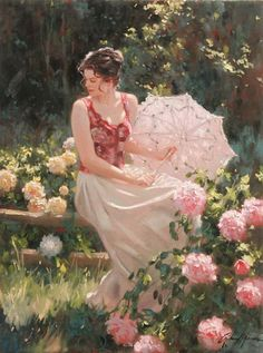 artist Richard S. Johnson  (1939 -)  ~ his paintings are so beautiful, serene, and the women's poses are graceful and very feminine in the most flattering way. You can actually feel yourself in the moment with his paintings....you feel like you're there. His paintings are lovely.   (click on photo of this painting to see more of his paintings)
