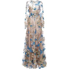 Floral Embellished Long Sleeve Illusion Ball Gown | Moda Operandi ($10,300) ❤ liked on Polyvore featuring dresses, gowns, long dress, long-sleeve maxi dresses, a line gown, long sleeve a line dress, floral evening gown and long dresses
