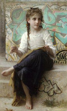 Graffiti Bouguereau - classic paintings in modern settings
