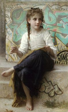 Graffiti Bouguereau - classic paintings in modern settings