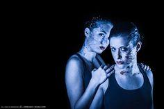 #Splattered #BodyPaint Cold #Blue Colors on face #PhotoShoot in Studio Black dark background by #LSVstudio