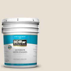 BEHR Premium Plus 5 gal. #73 Off White Satin Enamel Interior Paint