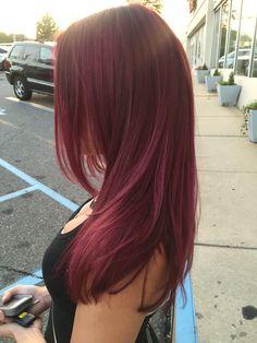 Love this color I did! Hair Color Streaks, Hair Dye Colors, Hair Highlights, Hair Color Ideas, Two Color Hair, Red Hair Inspo, Wine Hair, Aesthetic Hair, Balayage Hair