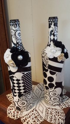 Black and White Recycled wine bottles with by WhyWastetheWine, $30.00