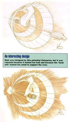 """Star Trek, Enterprise, XCV-330, Declaration Class, """"Ring Ship,"""" Concept Art by Matt Jeffries."""