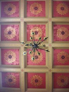 Gorgeous coffered ceiling with an Exotic East Center Stencil from Modello® Designs by Robin Johnston of Michigan's Faux Couture. Pretty in Pink!