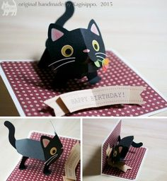 pop-up cats - Kagisippo pop-up … Birthday Present Diy, Birthday Card Pop Up, Birthday Presents, Diy Birthday Cards 3d, Birthday Box, Birthday Ideas, Cat Cards, Kids Cards, Tarjetas Diy