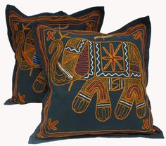 Amazon.com - 2 Black Handcrafted Embroidered Ethnic Indian Elephant Throws Pillow Cases Toss Cushion Covers -