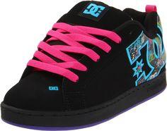 DC Women's Court Graffik SE Sneaker - Black/Graffiti Print