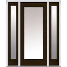 Milliken Millwork 68.5 in. x 81.75 in. Classic Clear Glass Full Lite Painted Majestic Steel Exterior Door with Sidelites, Brown