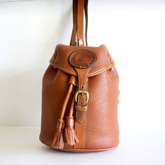 Rare Dooney & Bourke All Weather Leather~ Sling Mini ~Pebble~ Vintage Drawstring Backpack  $158.00