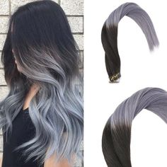 Remy Tape in Human Hair Extensions Ombre Natural Black to Grey 20 pieces PU Hair #humanhairextensions