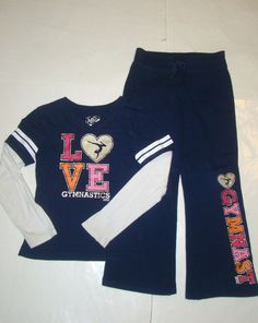 Justice Gymnast Gymnastics Navy Blue Shirt Pants Sweat Suit Outfit Set Girls 8 #Justice #Everyday