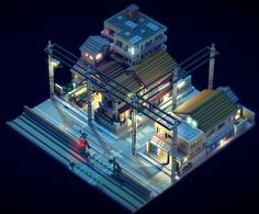Tokyo suburb - Voxel Art Animation on Behance Pixel Art, 3d Pixel, Art Isométrique, Sci Fi City, Tokyo City, Game Environment, Environment Design, Cyberpunk City, Isometric Art