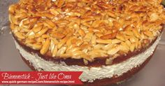 """Bienenstich Cake: Mike's birthday cake, a German """"Bee Sting"""" cake. http://www.quick-german-recipes.com/bienenstich-recipe.html PIN NOW & VIEW LATER!"""