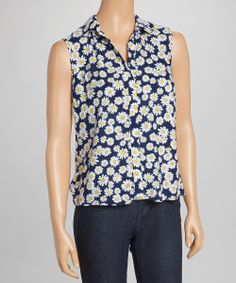 Navy & Yellow Floral Daisy Sleeveless Top