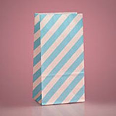 "3-5/8"" x 2-1/4"" Light Blue Diagonal Stripe Bags - 10 Quantity"