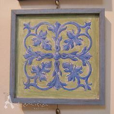 Fresco painting green earth cobalt blue by studioartemisia on Etsy, $85.00