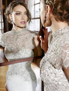 MOONLIGHT Couture SPRING 2016  Style H1295, beaded wedding dress, satin bridal gown with beading, added capelet, temple wedding dress, conservative designer wedding gown