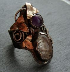Custom red gold and silver ring with amethyst and rutilated quartz   (lydia niziblian)