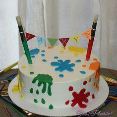 Artist theme birthday party paint splat cake