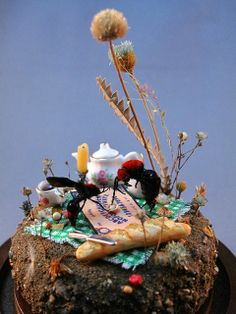 velvet ants at the Ouija board, insect diorama by Lisa Wood