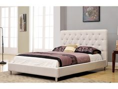 Abbyson Living Newport Tufted Ivory Linen Queen Platform Bed
