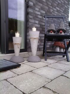 Concrete candle holders #concrete #cement #DIY # Candles #gnomes  #garde #outdoors #patio #Decorations