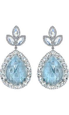 Irene Neuwirth  Fine Aquamarine, Moonstone & Diamond Earrings