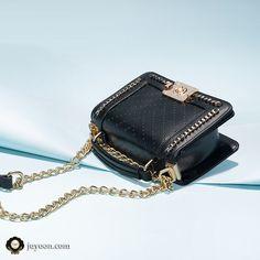 5f5b391dc559e Matte leather shoulder bag with elegant gold details