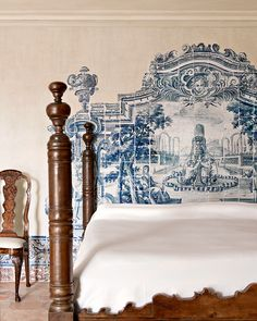 Andalusia home - Master Bedroom - Azulejo tiles serve as faux headboard Beautiful Bedrooms, Beautiful Interiors, Portuguese Tiles, Interior Decorating, Interior Design, Shabby Chic Bedrooms, My Dream Home, Decoration, Interior And Exterior