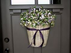 How Cute To Put Flowers In A Basket On Your Front Door For The Spring Time