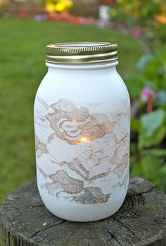 Lace/painted mason jar lantern for the walkway