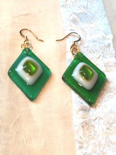 Lemon Lime Earrings Fused Glass Handmade by NorthCoastCottage, $29.00