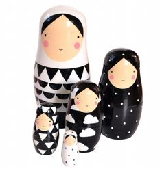Sketch Inc nesting dolls zwart wit