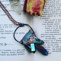 Rainbow Titanium Aura Quartz Necklace by MyHeartEchoesYours