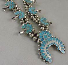 Vintage Zuni Indian Turquoise Squash Blossom necklace by Oldndnshop on Etsy